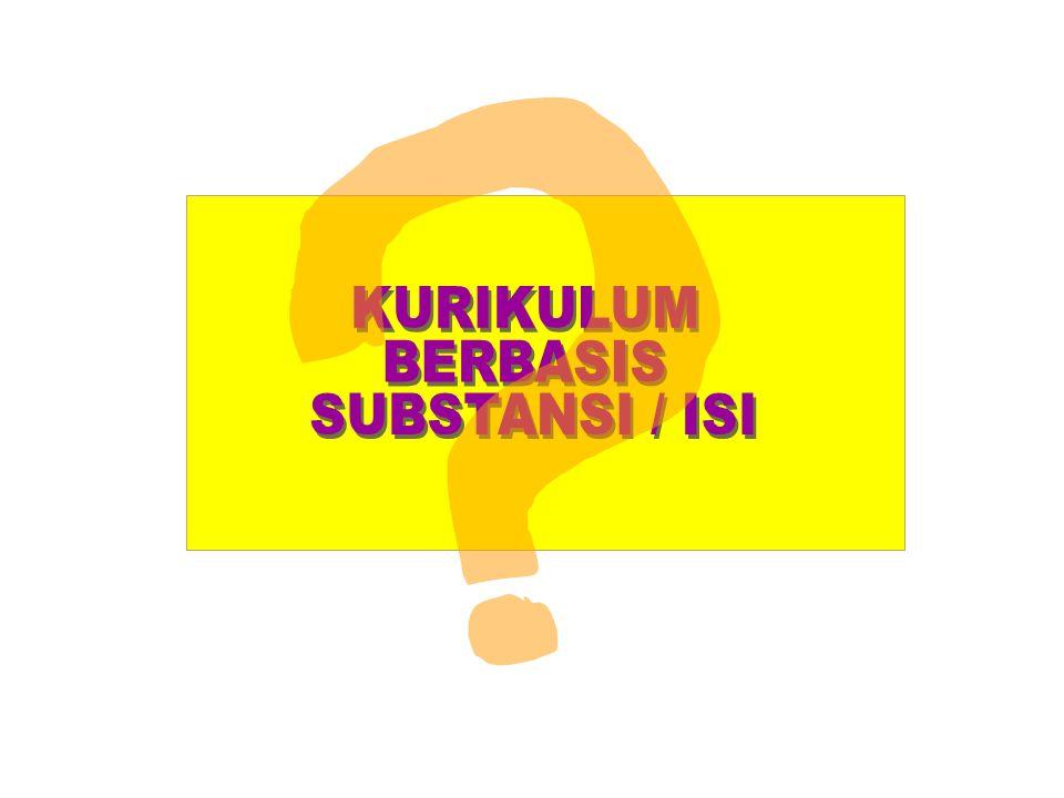 KURIKULUM BERBASIS SUBSTANSI / ISI