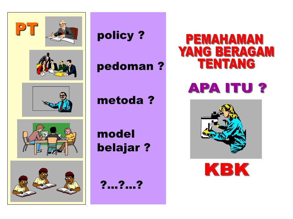PT PEMAHAMAN YANG BERAGAM TENTANG APA ITU KBK policy pedoman