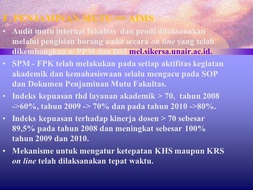 F. PENJAMINAN MUTU => AIMS