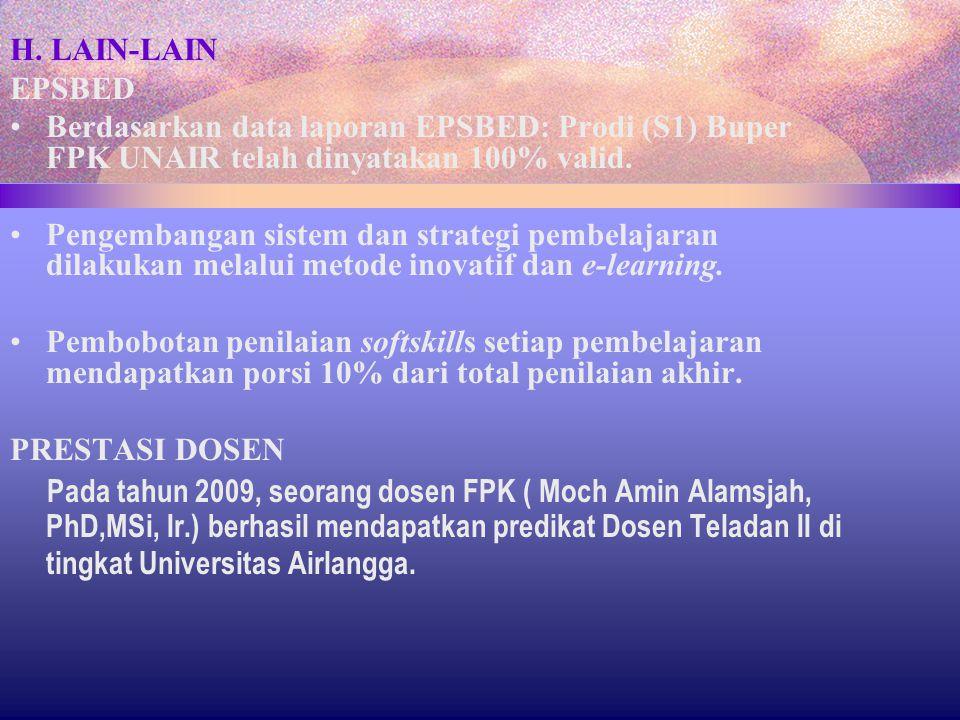 H. LAIN-LAIN EPSBED. Berdasarkan data laporan EPSBED: Prodi (S1) Buper FPK UNAIR telah dinyatakan 100% valid.