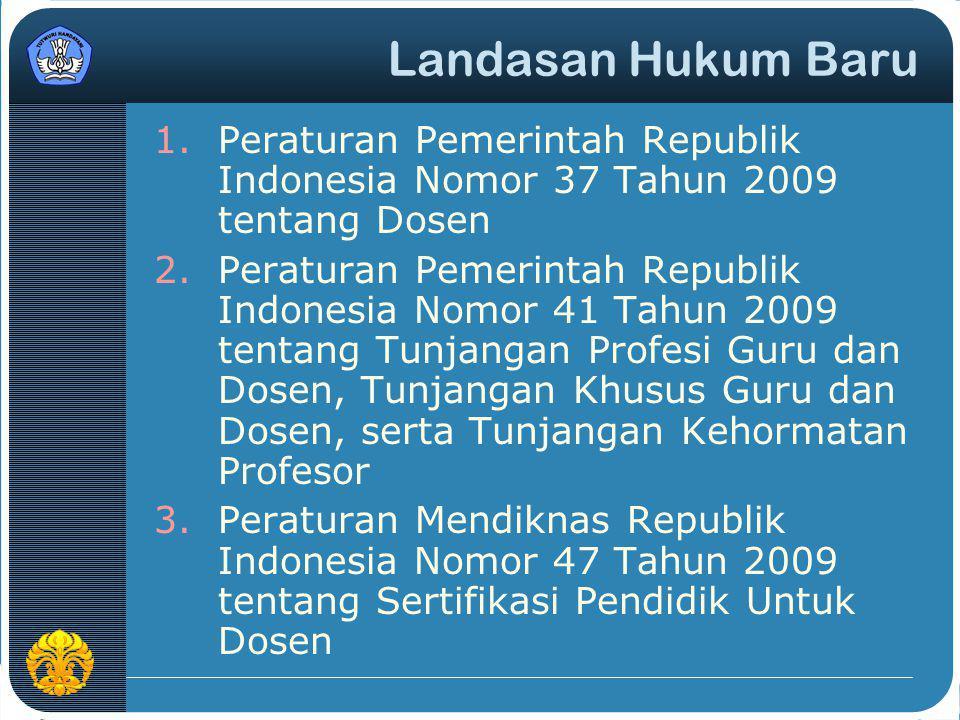 Landasan Hukum Baru Peraturan Pemerintah Republik Indonesia Nomor 37 Tahun 2009 tentang Dosen.