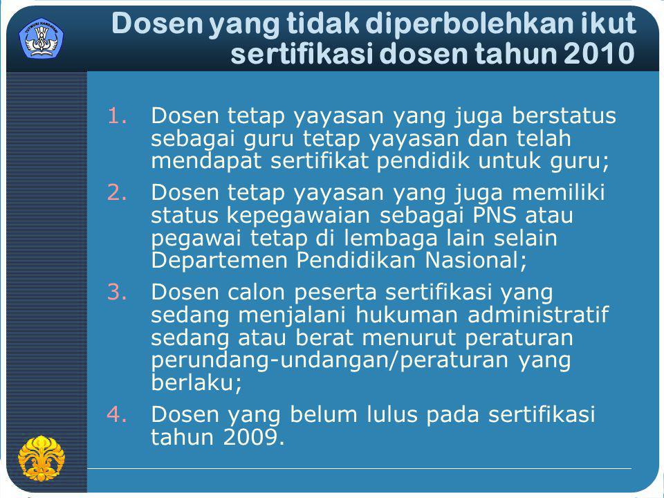 Dosen yang tidak diperbolehkan ikut sertifikasi dosen tahun 2010