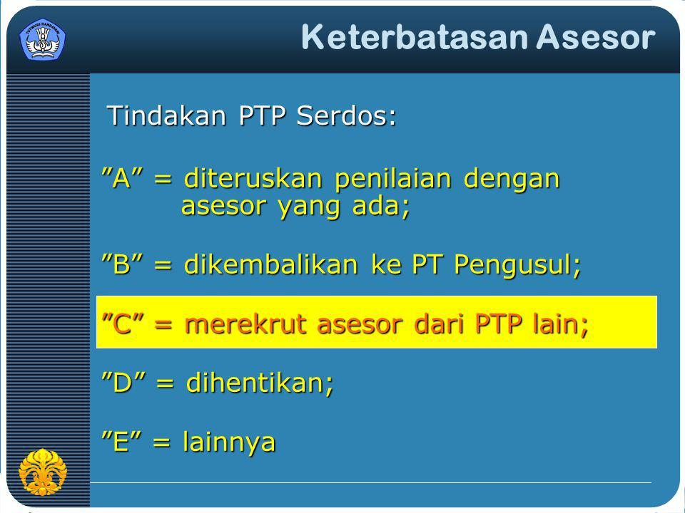 Keterbatasan Asesor Tindakan PTP Serdos: