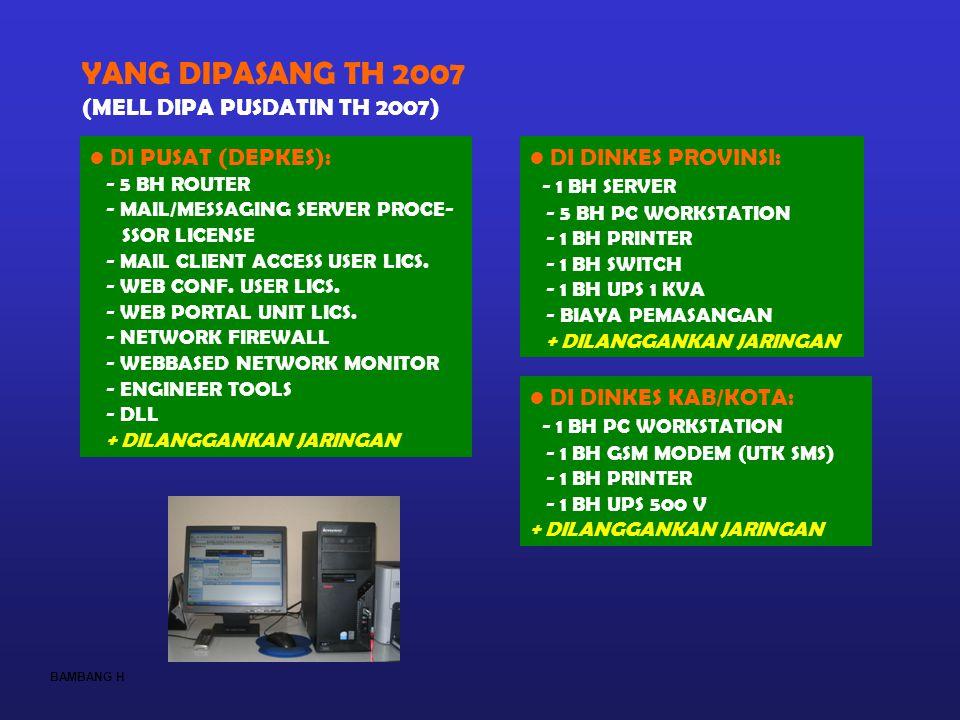 YANG DIPASANG TH 2007 (MELL DIPA PUSDATIN TH 2007) DI PUSAT (DEPKES):
