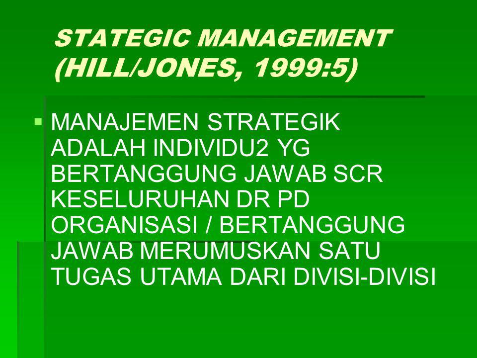 STATEGIC MANAGEMENT (HILL/JONES, 1999:5)