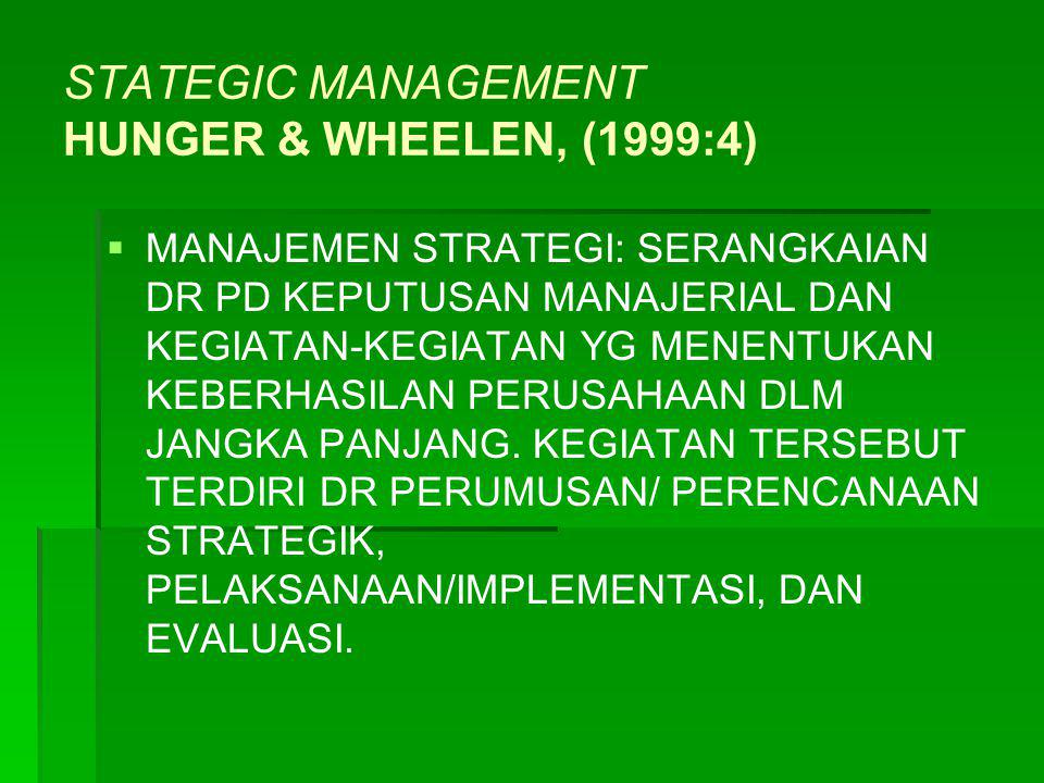 STATEGIC MANAGEMENT HUNGER & WHEELEN, (1999:4)