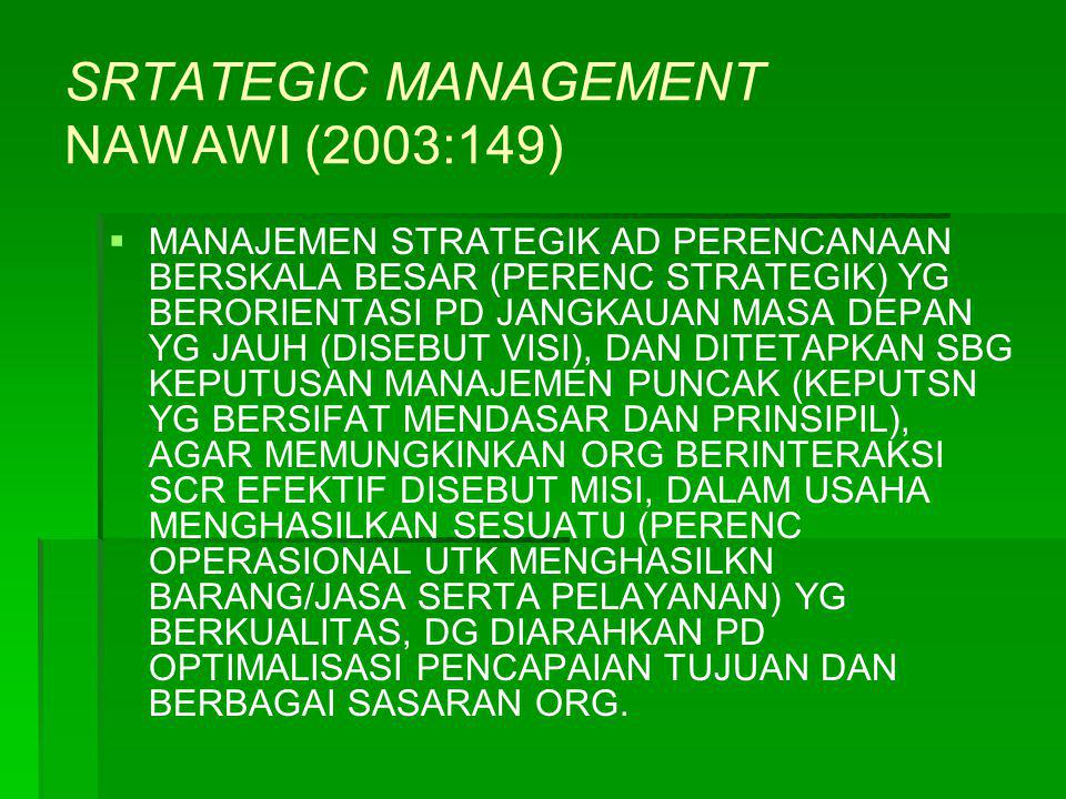 SRTATEGIC MANAGEMENT NAWAWI (2003:149)