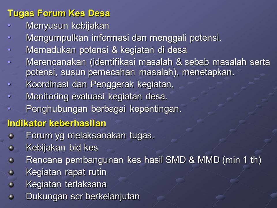 Tugas Forum Kes Desa Menyusun kebijakan. Mengumpulkan informasi dan menggali potensi. Memadukan potensi & kegiatan di desa.