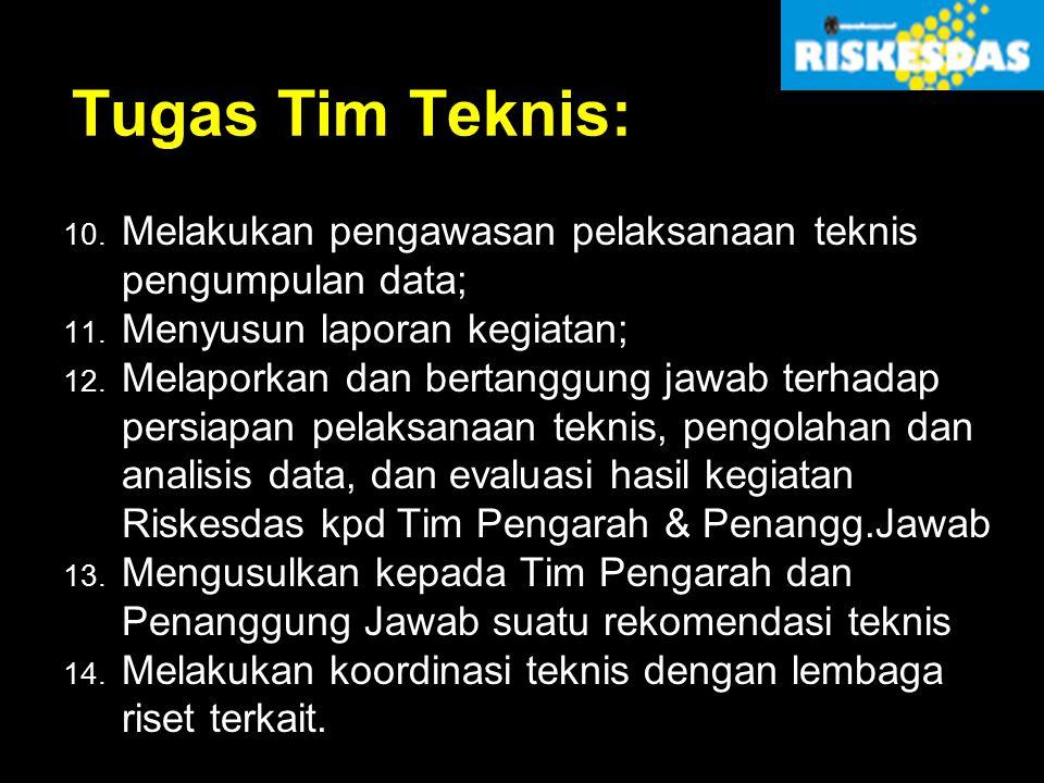 Tugas Tim Teknis: Melakukan pengawasan pelaksanaan teknis pengumpulan data; Menyusun laporan kegiatan;