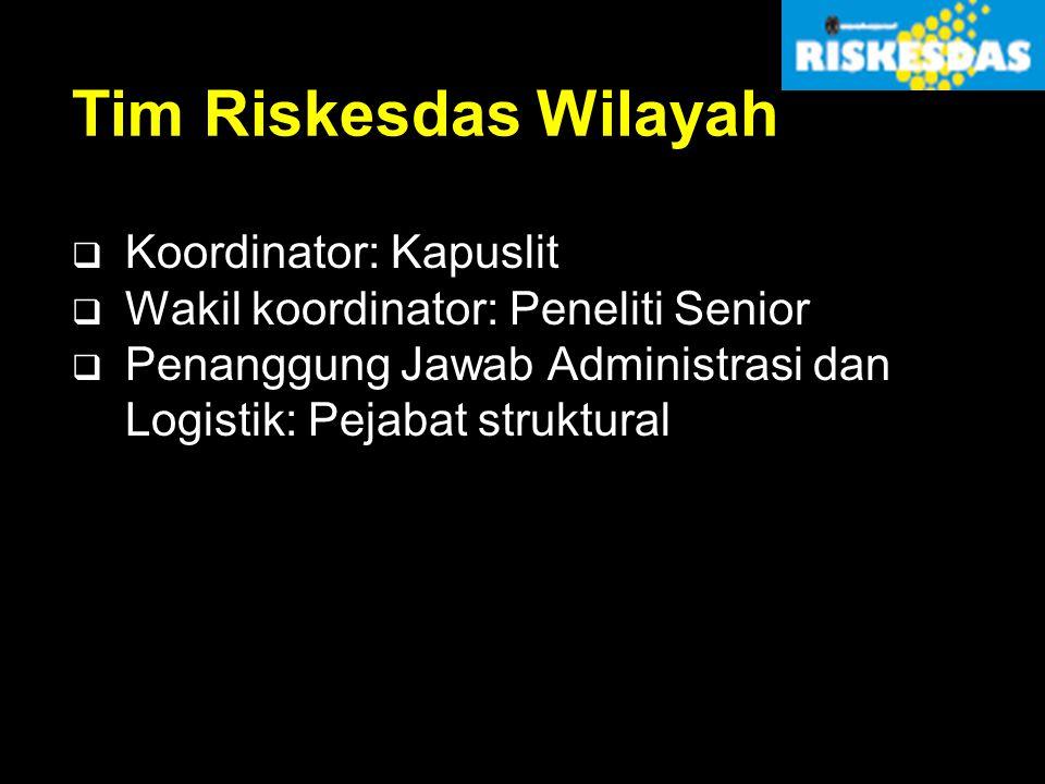 Tim Riskesdas Wilayah Koordinator: Kapuslit
