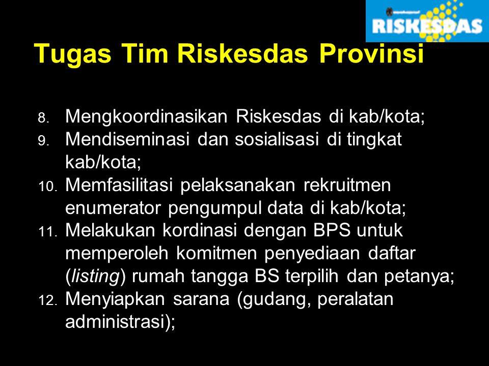 Tugas Tim Riskesdas Provinsi