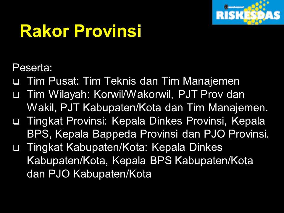 Rakor Provinsi Peserta: Tim Pusat: Tim Teknis dan Tim Manajemen
