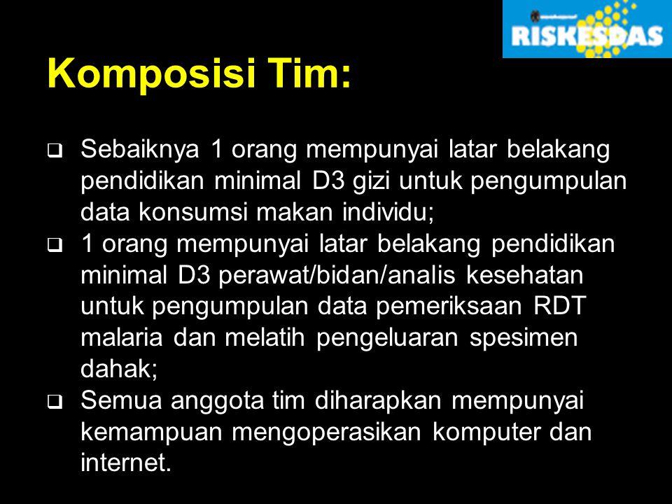 Komposisi Tim: Sebaiknya 1 orang mempunyai latar belakang pendidikan minimal D3 gizi untuk pengumpulan data konsumsi makan individu;