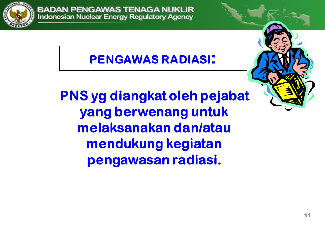 PENGAWAS RADIASI: PNS yg diangkat oleh pejabat yang berwenang untuk melaksanakan dan/atau mendukung kegiatan pengawasan radiasi.