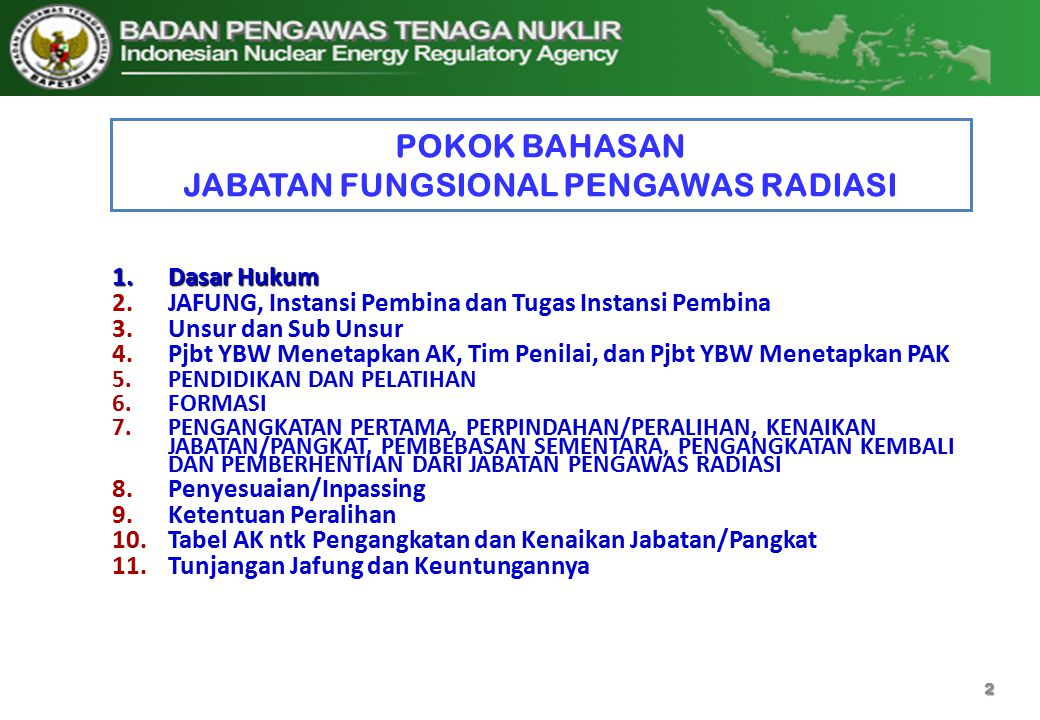 POKOK BAHASAN JABATAN FUNGSIONAL PENGAWAS RADIASI