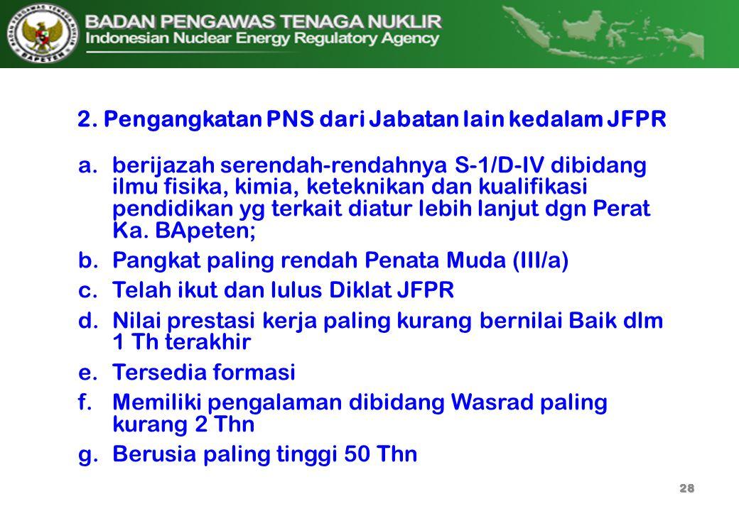 2. Pengangkatan PNS dari Jabatan lain kedalam JFPR