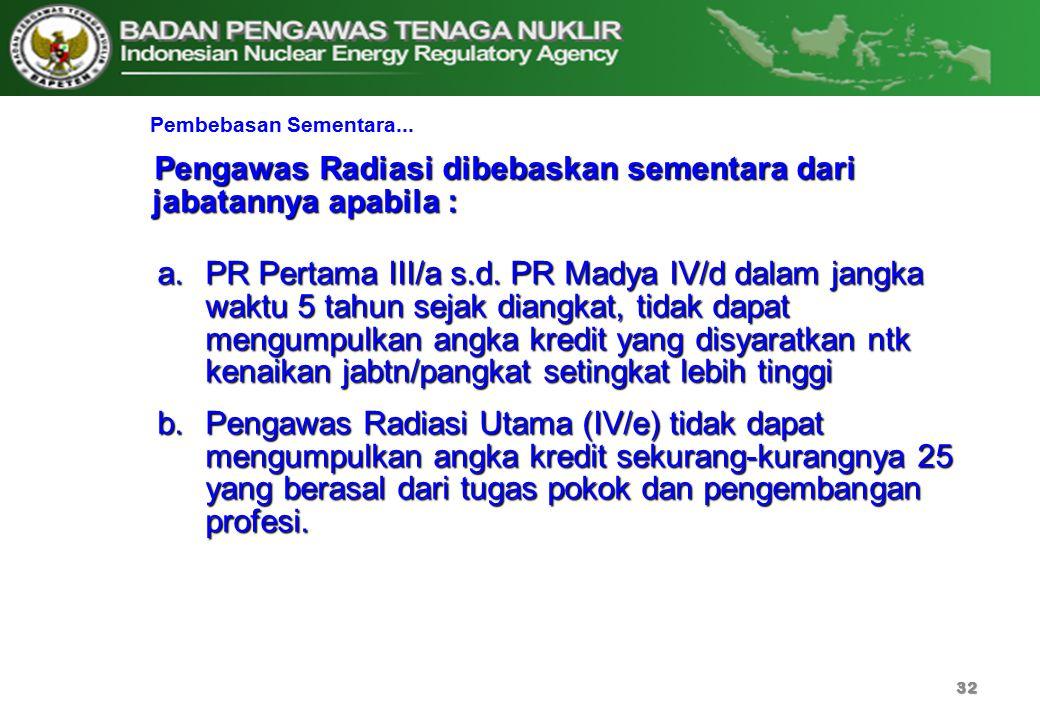 Pengawas Radiasi dibebaskan sementara dari jabatannya apabila :