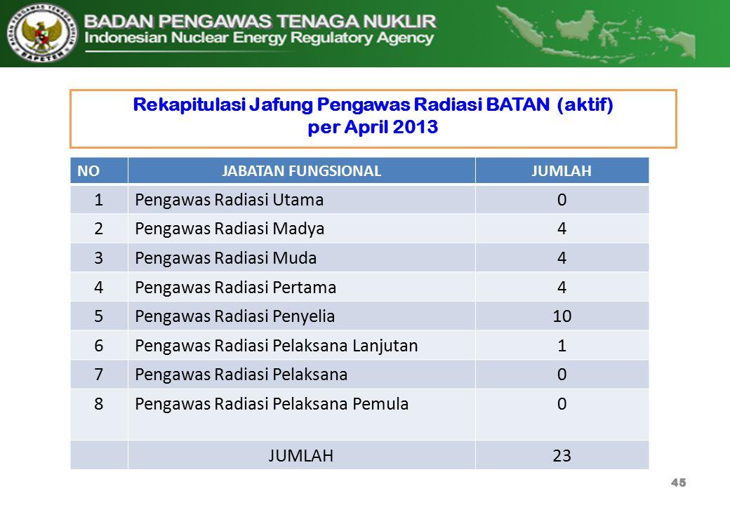 Rekapitulasi Jafung Pengawas Radiasi BATAN (aktif) per April 2013