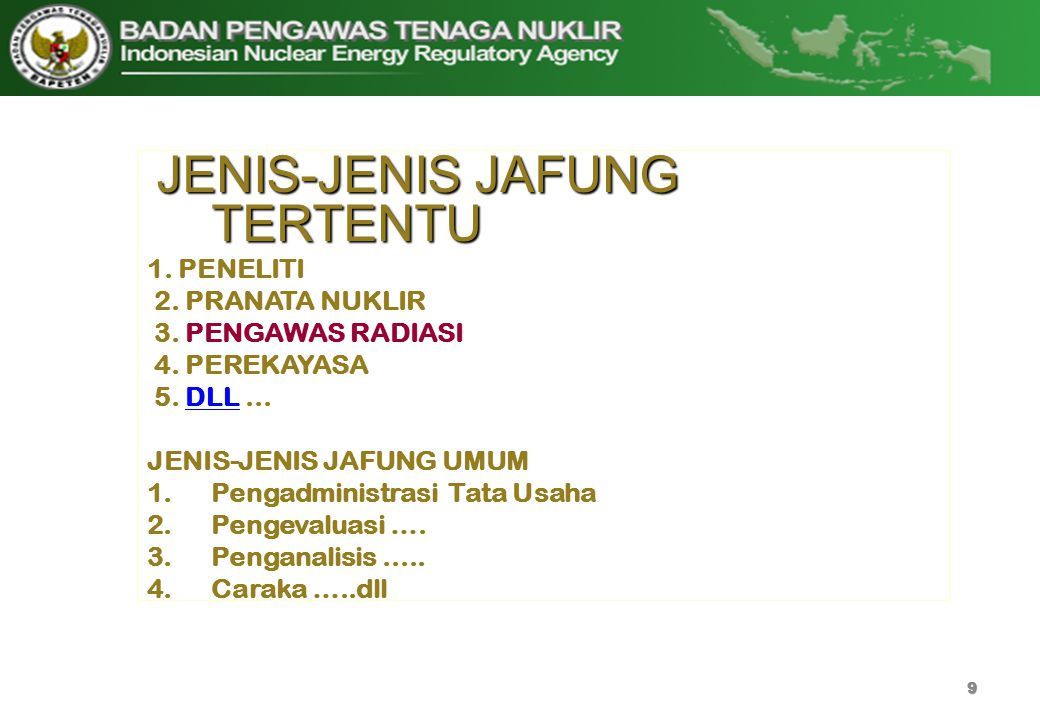 JENIS-JENIS JAFUNG TERTENTU