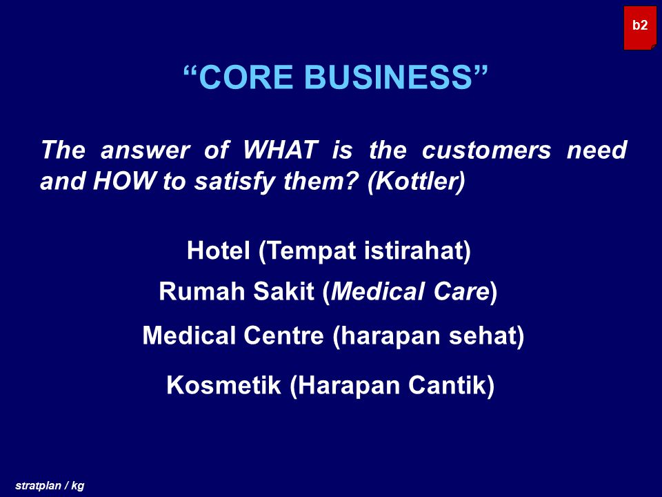 b2 CORE BUSINESS The answer of WHAT is the customers need and HOW to satisfy them (Kottler) Hotel (Tempat istirahat)