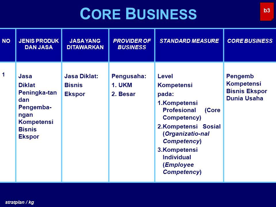 CORE BUSINESS b3. NO. JENIS PRODUK DAN JASA. JASA YANG DITAWARKAN. PROVIDER OF BUSINESS. STANDARD MEASURE.
