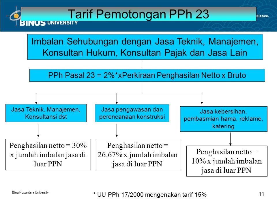 Tarif Pemotongan PPh 23 Imbalan Sehubungan dengan Jasa Teknik, Manajemen, Konsultan Hukum, Konsultan Pajak dan Jasa Lain.