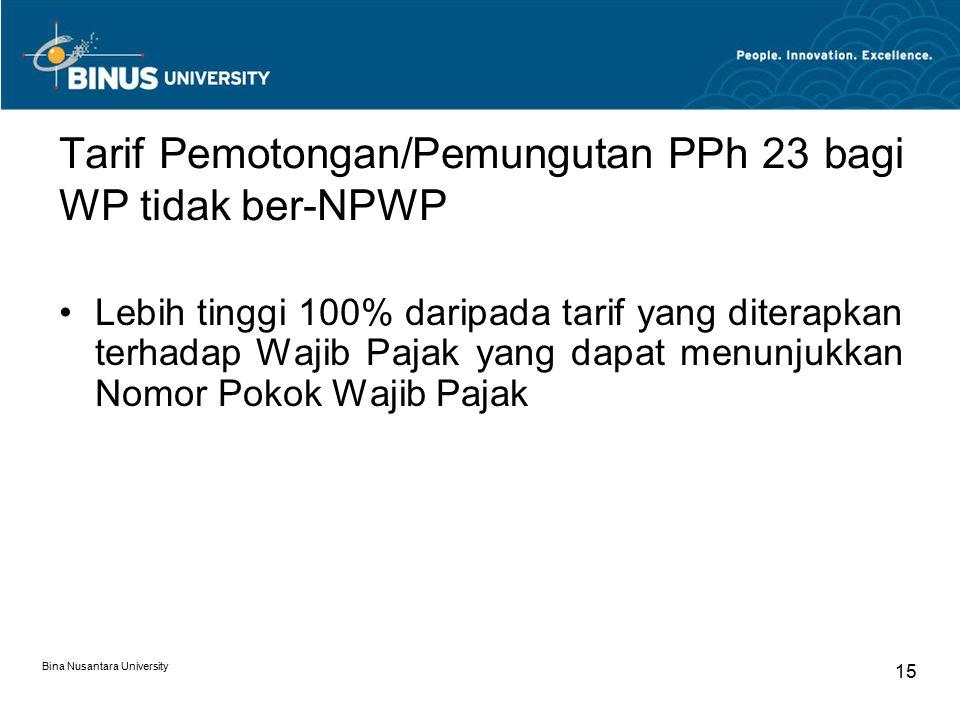 Tarif Pemotongan/Pemungutan PPh 23 bagi WP tidak ber-NPWP