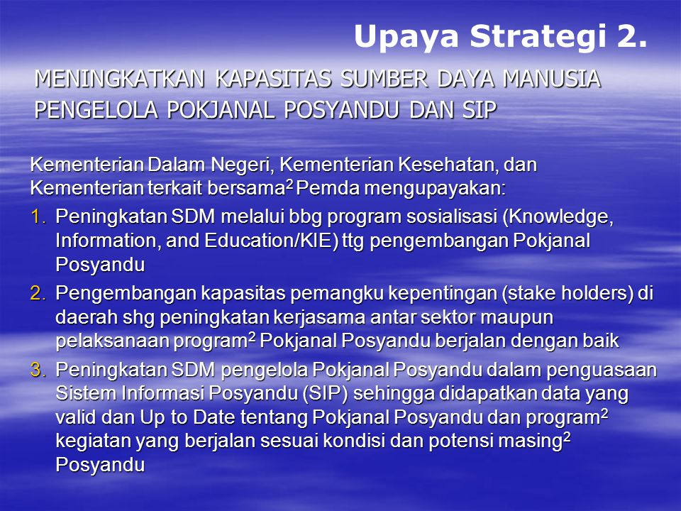 Upaya Strategi 2. Meningkatkan Kapasitas Sumber Daya Manusia