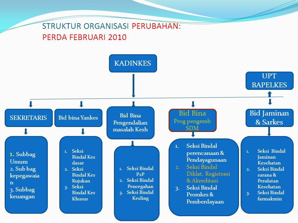 STRUKTUR ORGANISASI PERUBAHAN: PERDA FEBRUARI 2010