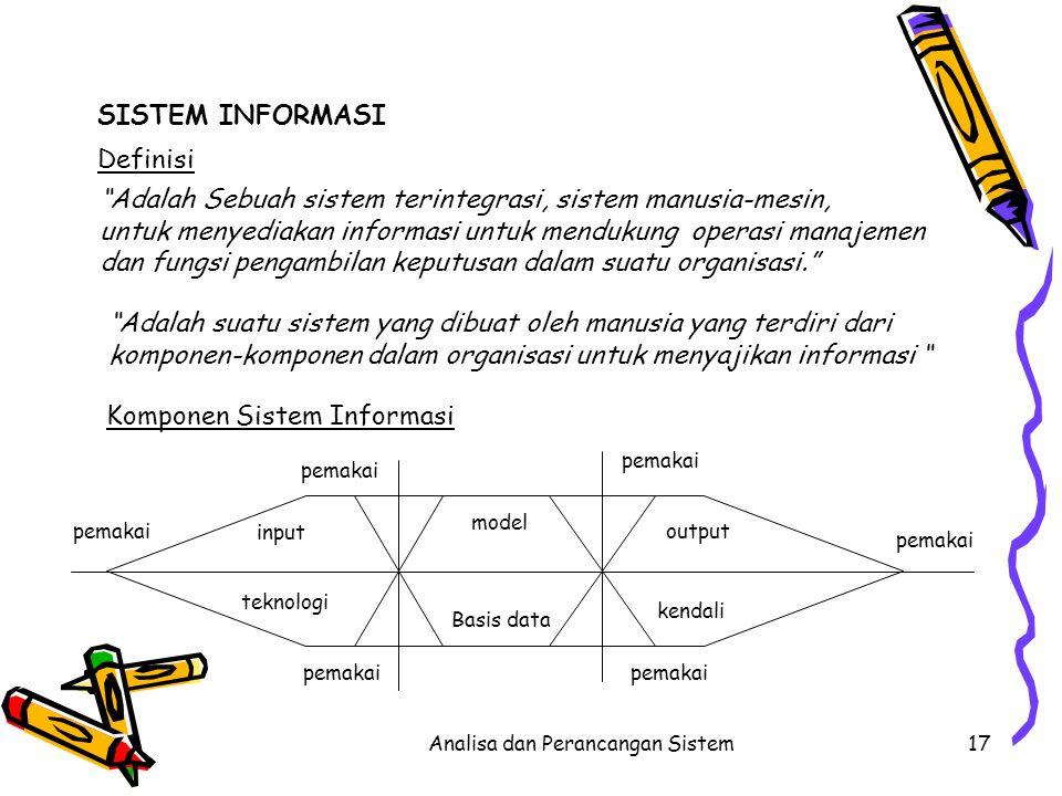 Analisa dan Perancangan Sistem