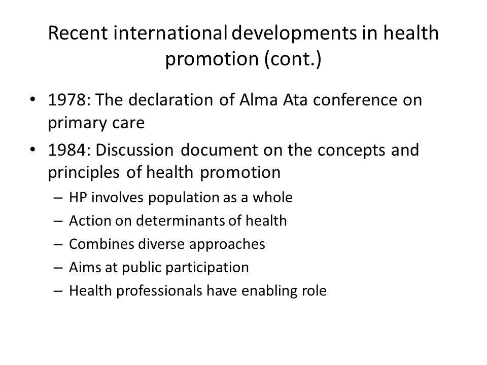 Recent international developments in health promotion (cont.)