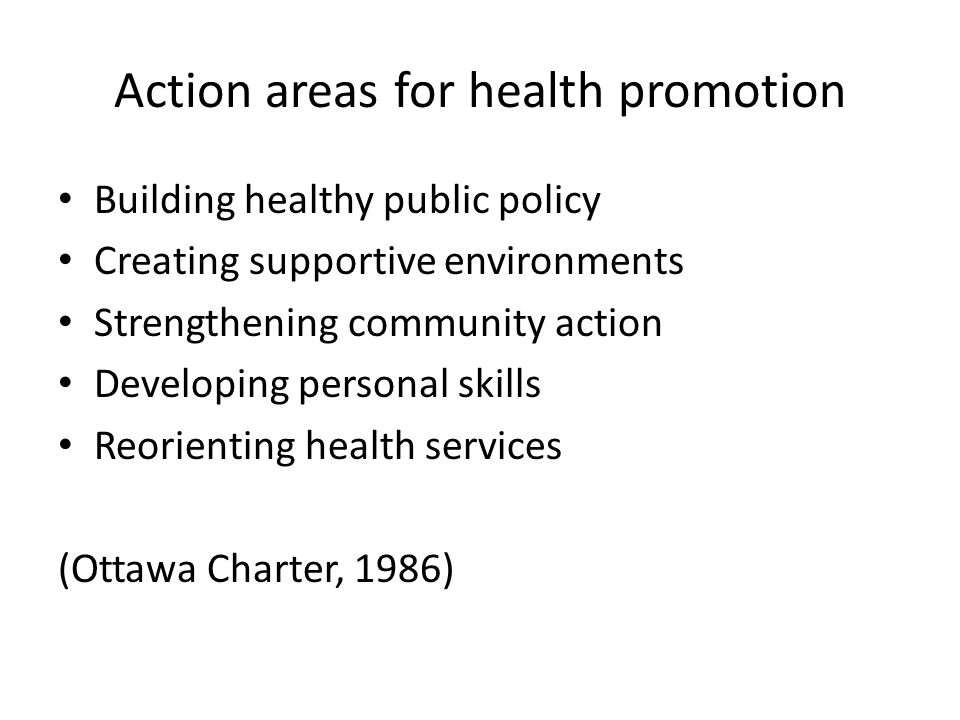 Action areas for health promotion