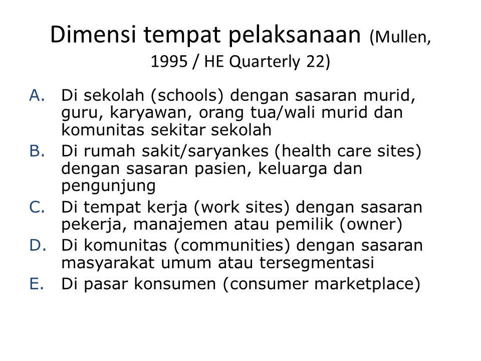 Dimensi tempat pelaksanaan (Mullen, 1995 / HE Quarterly 22)