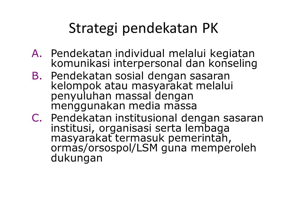 Strategi pendekatan PK