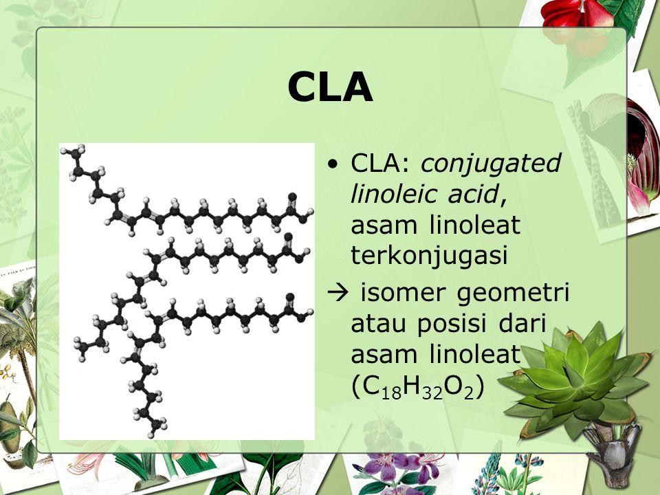 CLA CLA: conjugated linoleic acid, asam linoleat terkonjugasi