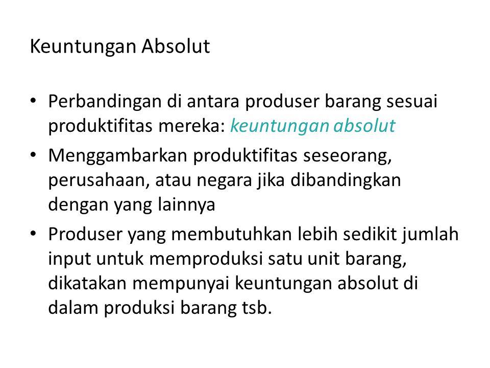 Keuntungan Absolut Perbandingan di antara produser barang sesuai produktifitas mereka: keuntungan absolut.