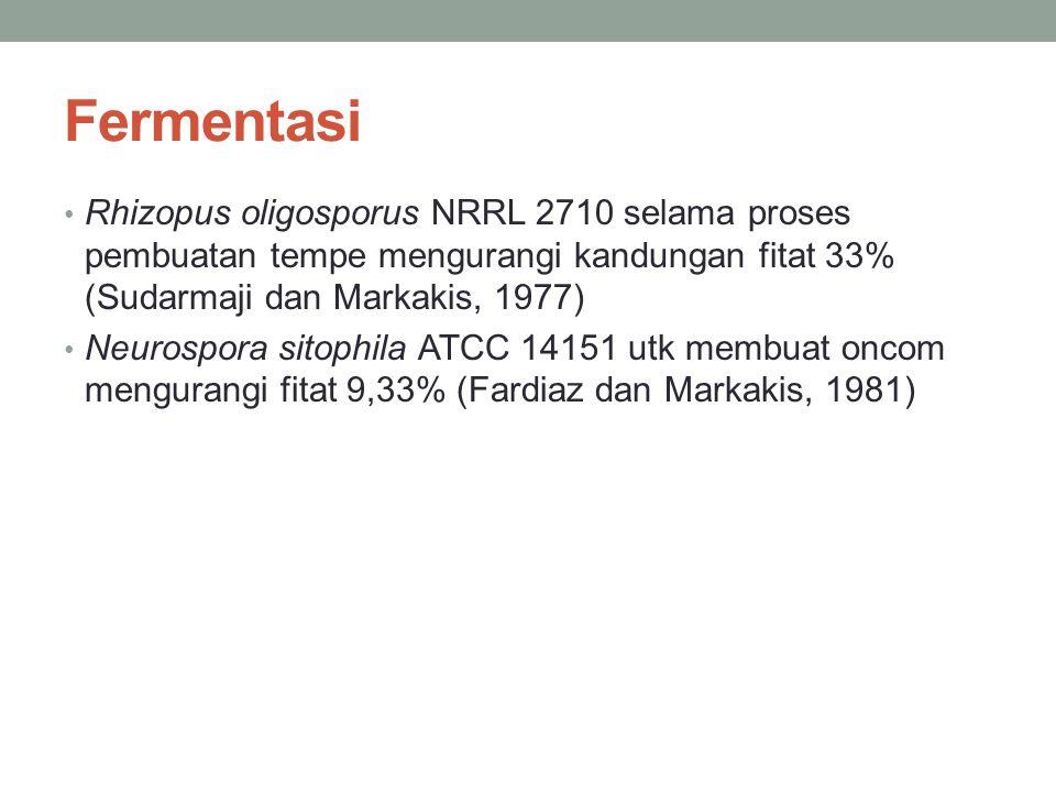 Fermentasi Rhizopus oligosporus NRRL 2710 selama proses pembuatan tempe mengurangi kandungan fitat 33% (Sudarmaji dan Markakis, 1977)