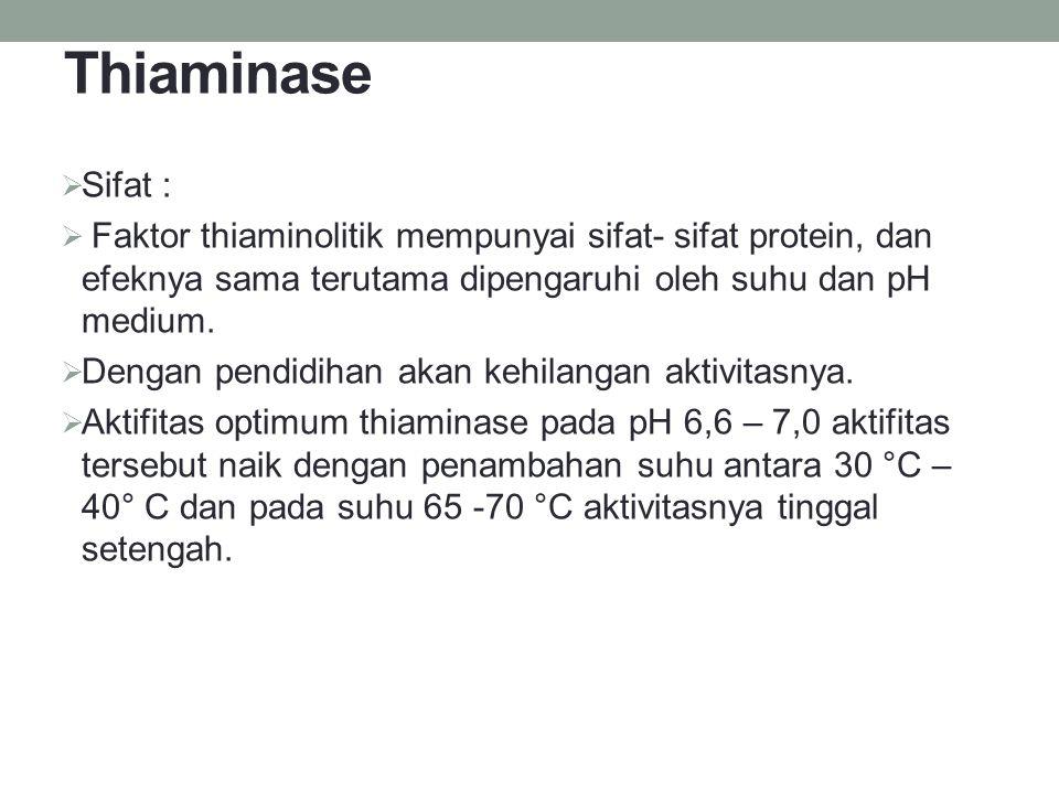 Thiaminase Sifat : Faktor thiaminolitik mempunyai sifat- sifat protein, dan efeknya sama terutama dipengaruhi oleh suhu dan pH medium.