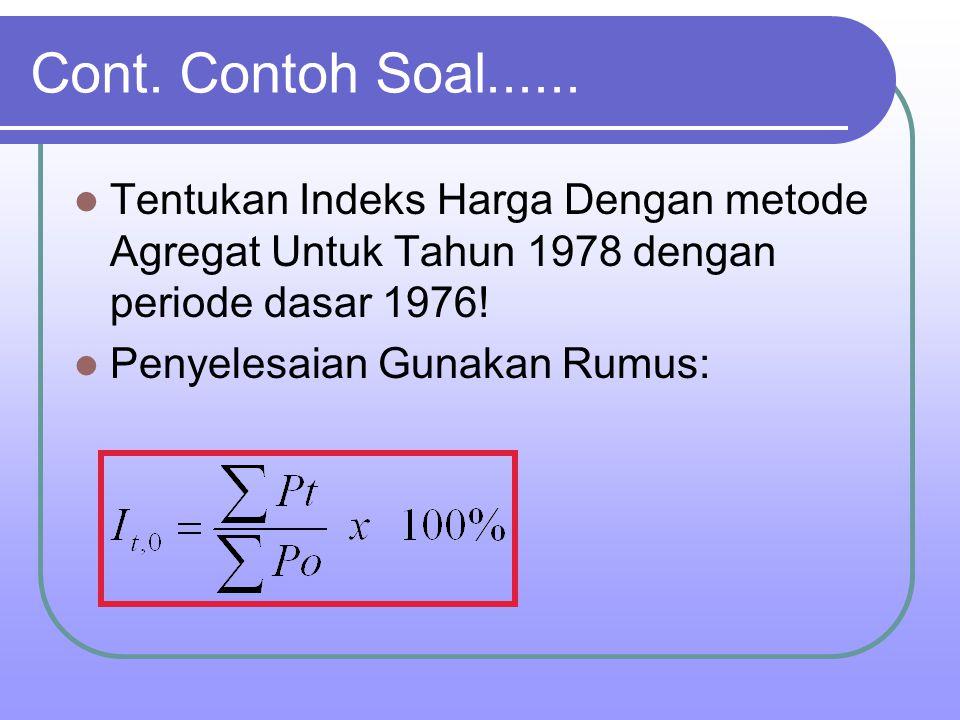 Cont. Contoh Soal...... Tentukan Indeks Harga Dengan metode Agregat Untuk Tahun 1978 dengan periode dasar 1976!