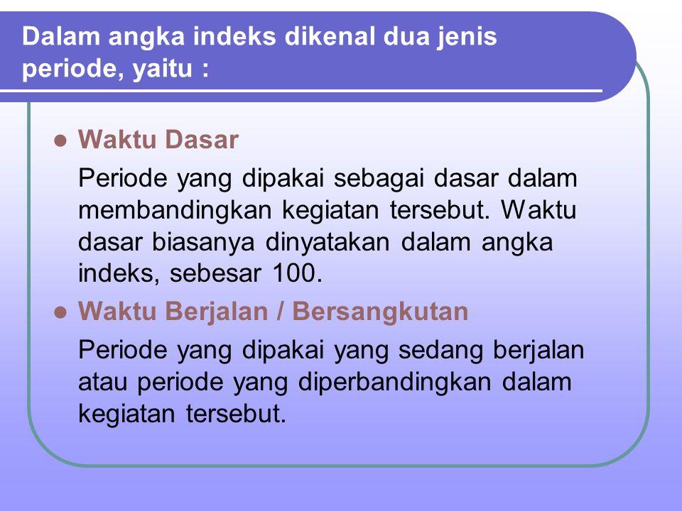 Dalam angka indeks dikenal dua jenis periode, yaitu :