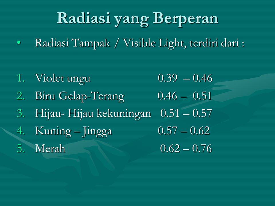 Radiasi yang Berperan Radiasi Tampak / Visible Light, terdiri dari :