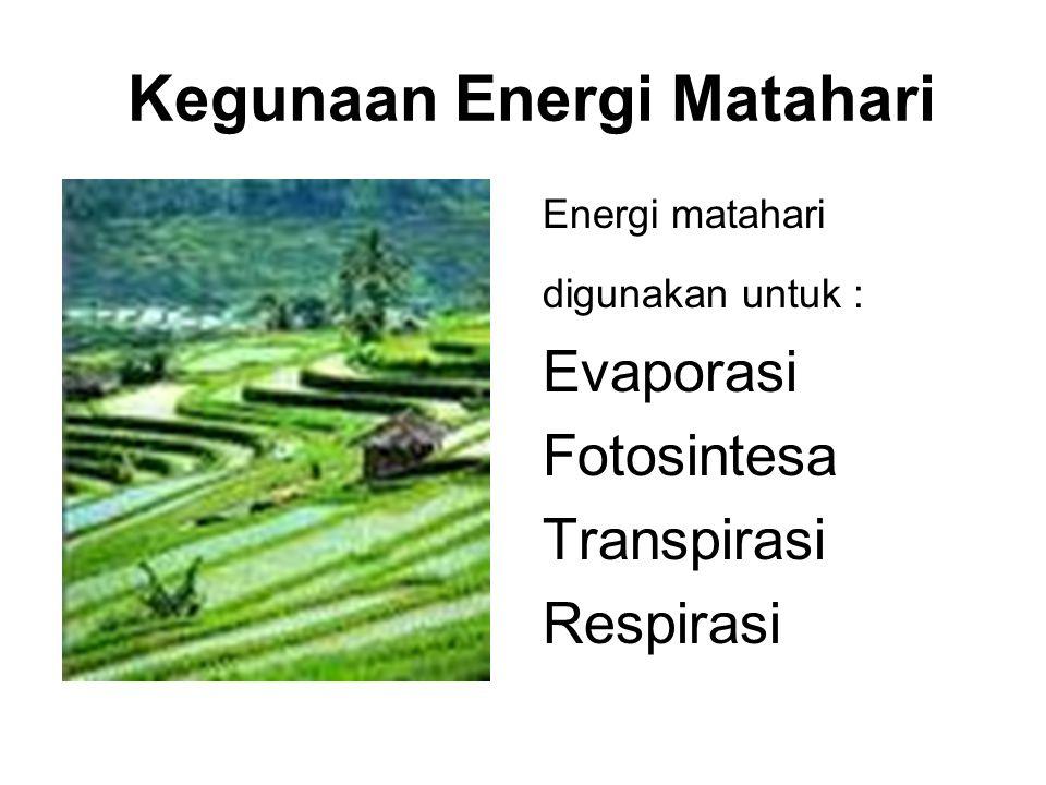 Kegunaan Energi Matahari