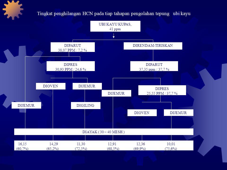 Tingkat penghilangan HCN pada tiap tahapan pengolahan tepung ubi kayu