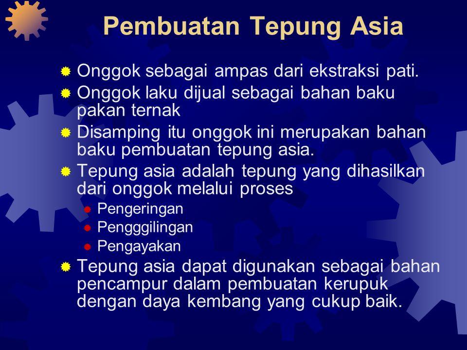 Pembuatan Tepung Asia Onggok sebagai ampas dari ekstraksi pati.