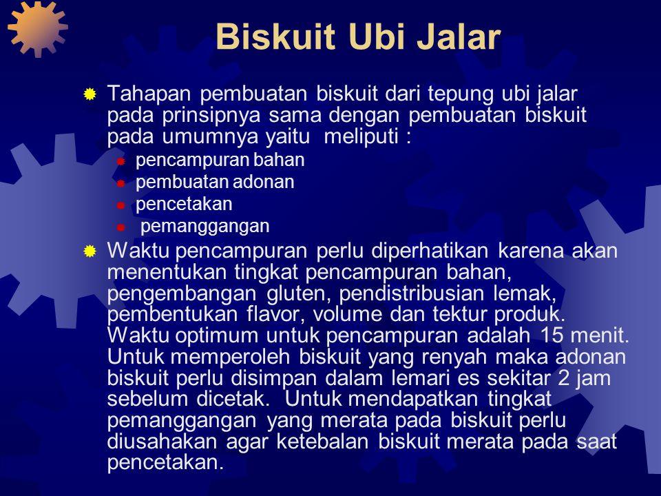 Biskuit Ubi Jalar Tahapan pembuatan biskuit dari tepung ubi jalar pada prinsipnya sama dengan pembuatan biskuit pada umumnya yaitu meliputi :
