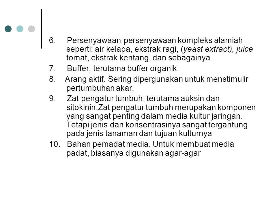 6. Persenyawaan-persenyawaan kompleks alamiah seperti: air kelapa, ekstrak ragi, (yeast extract), juice tomat, ekstrak kentang, dan sebagainya