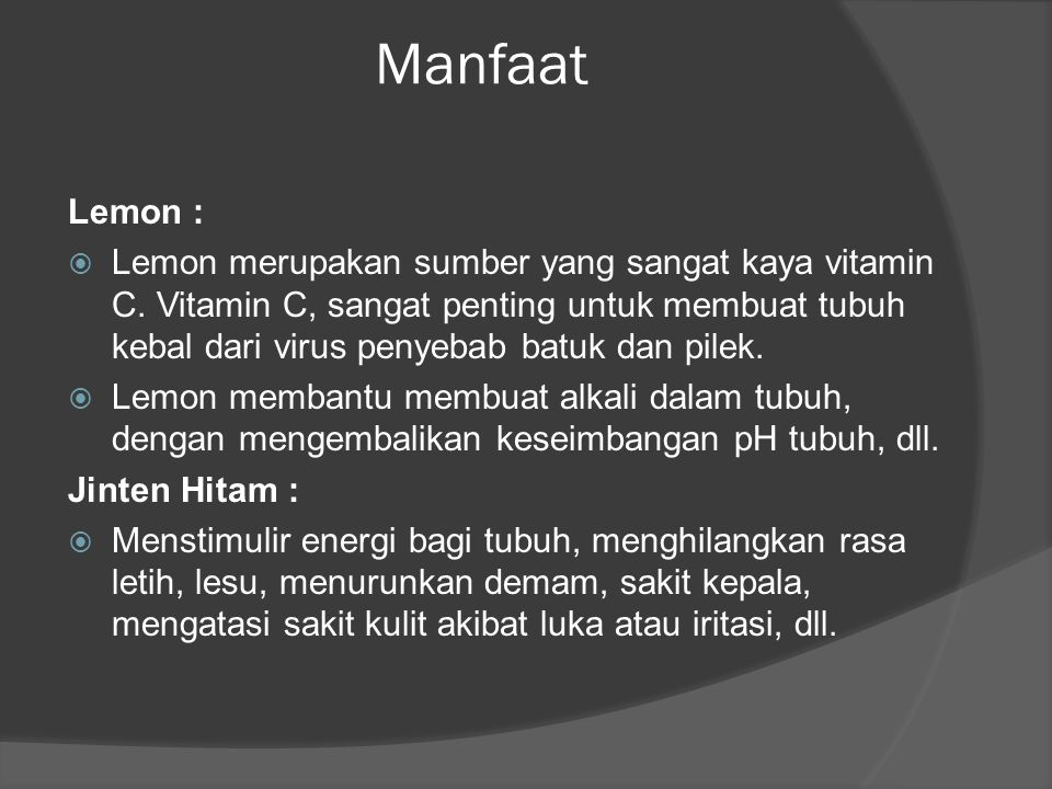 Manfaat Lemon :