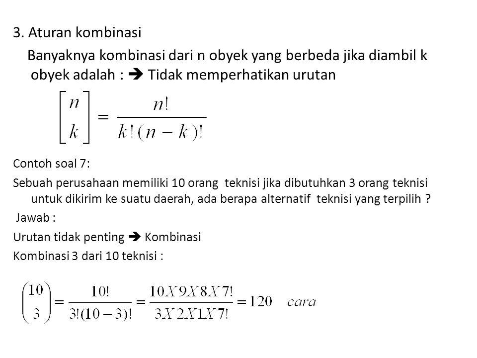 3. Aturan kombinasi Banyaknya kombinasi dari n obyek yang berbeda jika diambil k obyek adalah :  Tidak memperhatikan urutan.