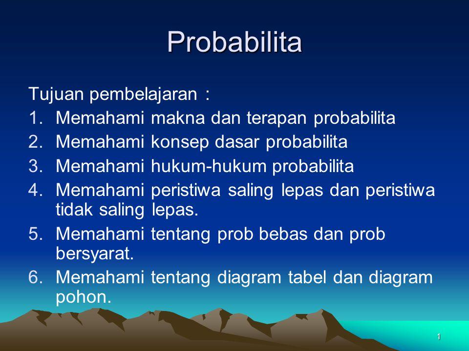 Probabilita Tujuan pembelajaran :
