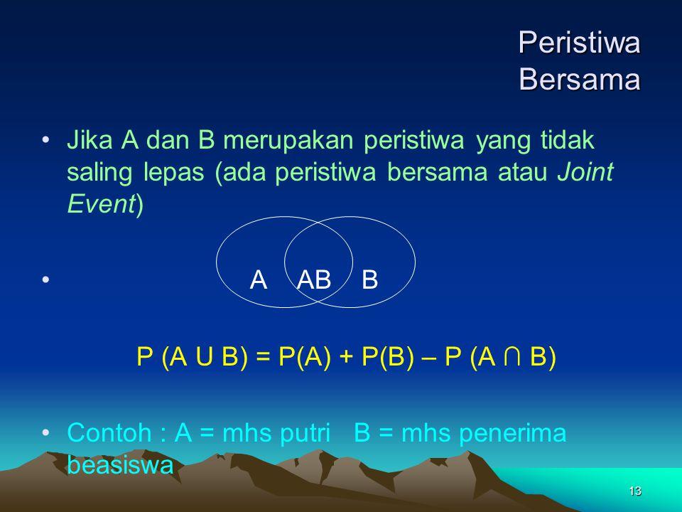 Peristiwa Bersama Jika A dan B merupakan peristiwa yang tidak saling lepas (ada peristiwa bersama atau Joint Event)